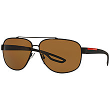 Buy Prada Linea Rossa PS58QS Polarised Rectangular Sunglasses Online at johnlewis.com