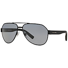 Buy Dolce & Gabbana DG2149 Polarised Aviator Sunglasses, Black Online at johnlewis.com