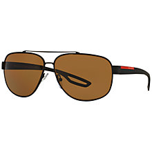 Buy Prada Linea Rossa PS58QS Polarised Rectangular Sunglasses, Black/Brown Online at johnlewis.com