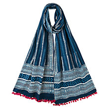 Buy East Booti Printed Scarf, Indigo Online at johnlewis.com
