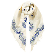 Buy East Embroidered Scarf, Neutral Online at johnlewis.com