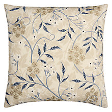Buy Morris & Co Jasmine Embroidery Cushion, Natural Online at johnlewis.com