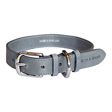 Buy Mutts & Hounds Slim Leather Dog Collar, Grey Online at johnlewis.com