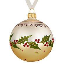 Buy John Lewis Midwinter Glass Holly Bauble, Gold Online at johnlewis.com
