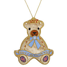 Buy Tinker Tailor Fabric First Christmas Teddy Hanging Decoration, Multi Online at johnlewis.com