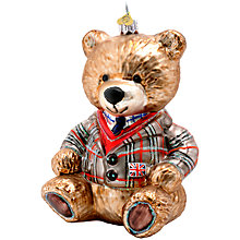 Buy Bombki Glass Large Lewis Bear Bauble, Multi Online at johnlewis.com