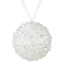 Buy John Lewis Snowdrift Glass Glitter Bauble, White Online at johnlewis.com
