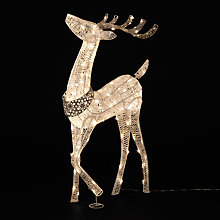 Buy John Lewis Pre-Lit Reindeer Decoration, Silver and White, 105cm Online at johnlewis.com