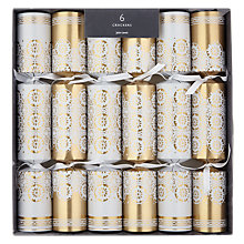 Buy John Lewis Enchantment Gold Lace Christmas Crackers, Pack of 6 Online at johnlewis.com
