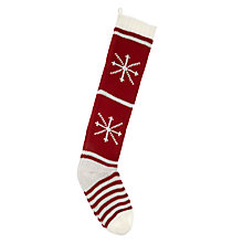 Buy John Lewis Snowflake Knitted Christmas Stocking, Red & White Online at johnlewis.com