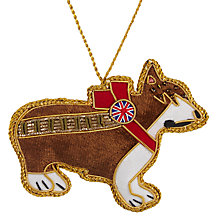 Buy Tinker Tailor Fabric Union Jack Corgi Hanging Decoration, Multi Online at johnlewis.com