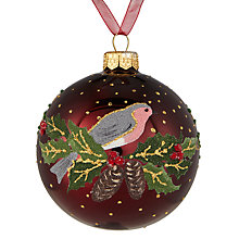 Buy John Lewis Midwinter Glass Traditional Robin Bauble, Claret Online at johnlewis.com