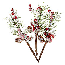 Buy John Lewis Berry & Pine Cone Picks, Pack of 3 Online at johnlewis.com
