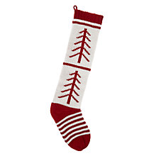 Buy John Lewis Knitted Tree Stocking, Red & White Online at johnlewis.com
