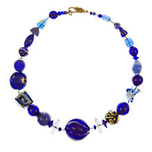 Buy Eclectica Vintage 1980s Venetian Glass Beaded Necklace, Blue/Gold Online at johnlewis.com