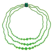 Buy Eclectica Vintage 1950s Three Row Glass Beaded Necklace, Green Online at johnlewis.com