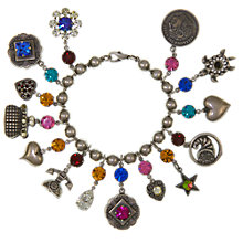 Buy Eclectica Vintage 1980s Askew Glass Silver Plated Bracelet, Multi Online at johnlewis.com