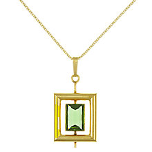 Buy Eclectica Vintage 1970s Geometric Rolled Gold Pendant Necklace, Gold/Green Online at johnlewis.com