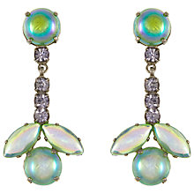 Buy Eclectica Vintage 1950s Chrome Plated Glass Clip-On Drop Earrings, Green Online at johnlewis.com