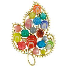 Buy Eclectica Vintage 1960s Bright Leaf Gold Plated Glass Brooch, Multi/Gold Online at johnlewis.com