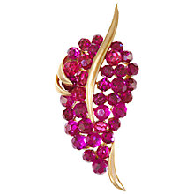 Buy Eclectica Vintage 1960s Trifari Crystal Gold Plated Brooch, Cerise Online at johnlewis.com