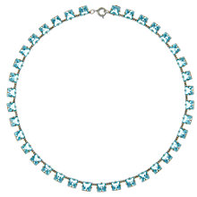 Buy Eclectica Vintage 1930s Faceted Glass Silver Plated Necklace, Turquoise Online at johnlewis.com