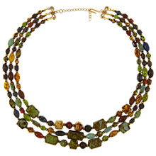 Buy Eclectica Vintage 1960s Three Row Faux Agate Gold Plated Necklace, Multi Online at johnlewis.com