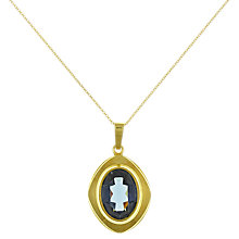 Buy Eclectica Vintage 1960s Glass Stone Pendant Rolled Gold Necklace, Blue/Gold Online at johnlewis.com