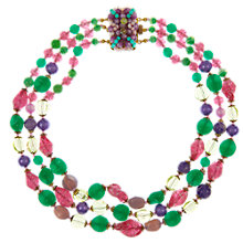 Buy Eclectica Vintage 1950s Multi Bead Gold Plated Necklace, Green/Pink Online at johnlewis.com