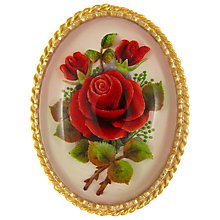 Buy Eclectica Vintage 1950s Red Rose Oval Brooch, Gold Online at johnlewis.com