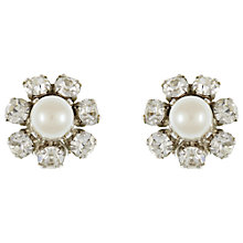 Buy Eclectica Vintage 1968 Christian Dior Faux Pearl Crystal Clip-On Earrings, White Online at johnlewis.com