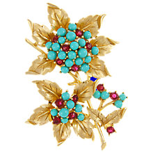 Buy Eclectica Vintage 1960s Trifari Cabochon Leaf Gold Plated Brooch, Turquoise Online at johnlewis.com