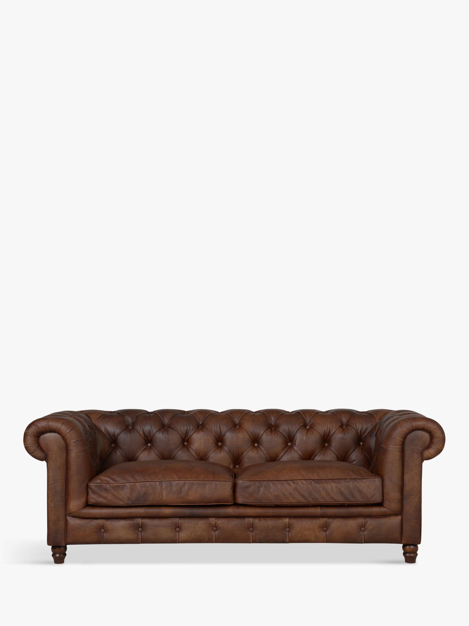 Halo Halo Earle Aniline Leather Chesterfield Medium Sofa, Antique Whisky