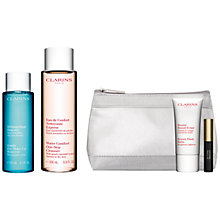 Buy Clarins Water Comfort One-Step Cleanser, 200ml and Gentle Eye Makeup Remover Lotion, 125ml with FREE Summer Beauty Duo Online at johnlewis.com
