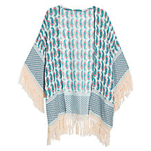 Buy Mango Fringed Kaftan, Light Beige Online at johnlewis.com