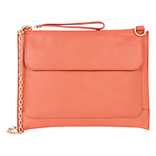 Buy Oasis Betti Leather Clutch Bag, Coral Online at johnlewis.com