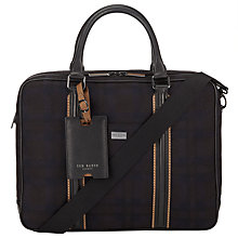 Buy Ted Baker Tartom Check Wool and Leather Document Bag, Black Online at johnlewis.com