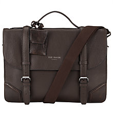 Buy Ted Baker Lextons Contrast Corner Leather Briefcase, Chocolate Online at johnlewis.com