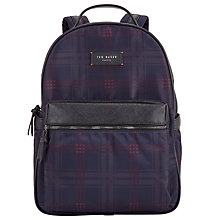 Buy Ted Baker Amilio Check Backpack, Navy Online at johnlewis.com