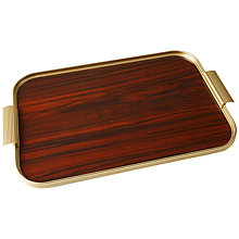 Buy Kaymet Ribbed Tray, Gold/Rosewood Online at johnlewis.com
