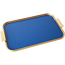 Buy Kaymet Ribbed tray, Gold/Cobalt Online at johnlewis.com