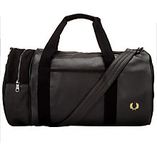 Buy Fred Perry Scotch Grain Barrel Bag, Black Online at johnlewis.com