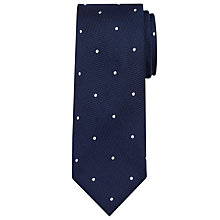 Buy John Lewis Made in Italy Textured Spot Silk Tie, Navy Online at johnlewis.com