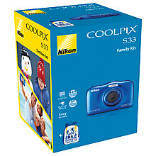 "Buy Nikon COOLPIX S33 Waterproof Compact Digital Camera, HD 1080p, 13.2MP, 3x Optical Zoom, 2.7"" LCD Screen with Memory Card Online at johnlewis.com"