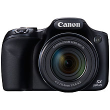 "Buy Canon Powershot SX530 HS Bridge Camera, HD 1080p, 16MP, 50x Optical Zoom, Wi-Fi, NFC, 3"" LCD Screen Online at johnlewis.com"
