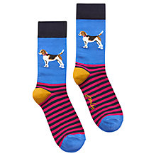 Buy Joules Brill Bamboo Dog Print Ankle Socks, Pack of 1, Blue/Multi Online at johnlewis.com