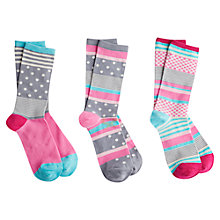 Buy Joules Brill Bamboo Stripe Ankle Socks, Pack of 3, Grey/Multi Online at johnlewis.com