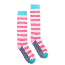 Buy Joules Fabfluffy Knee High Stripe Socks, Pack of 1, Fondant Pink Online at johnlewis.com