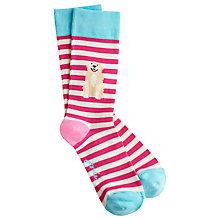 Buy Joules Brill Bamboo Dog Print Ankle Socks, Pack of 1, Pink/Multi Online at johnlewis.com
