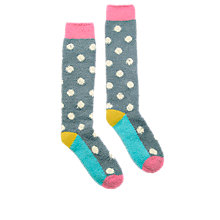Buy Joules Fabfluffy Knee High Socks, Pack of 1, Soft Grey/Multi Online at johnlewis.com